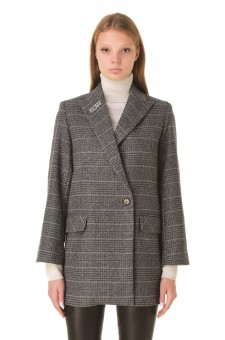 Двубортный пиджак со съемной брошью